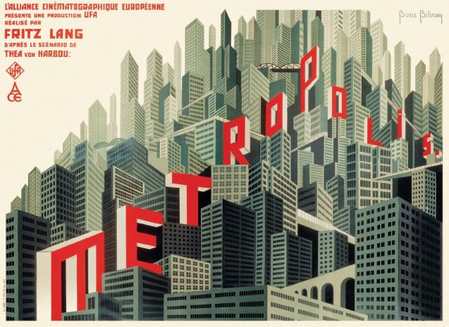 Russian-born Boris Bilinsky designed this Constructivist-inspired poster for the French release of Fritz Lang's Metropolis (1927).