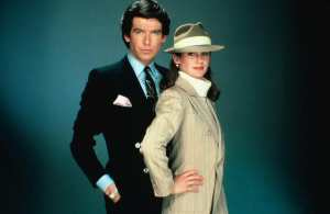 Brosnan, with Stephanie Zimbalist, as Remington Steele.