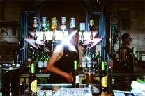 Tom behind the bar.