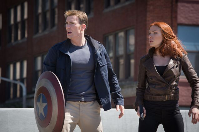 With Chris Evans in Captain America: The Winter Soldier.