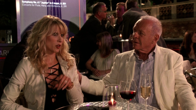Anthony Hopkins mansplaining to Lucy Lunch in You Will Meet a Tall Dark Stranger.