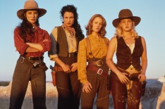 """Fugitive vengeful prostitutes: Madeleine Stowe as """"Cody Zamora"""", Andie MacDowell as """"Eileen Spenser"""", Mary Stuart Masterson as """"Anita Crown"""" & Drew Barrymore as """"Lilly Laronette"""" in Bad Girls (1994)"""