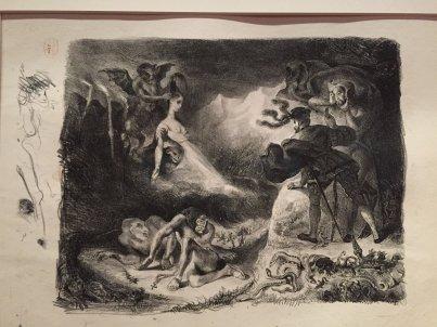 Eugène Delacroix: L'ombre de Marguerite apparaissent à Faust.