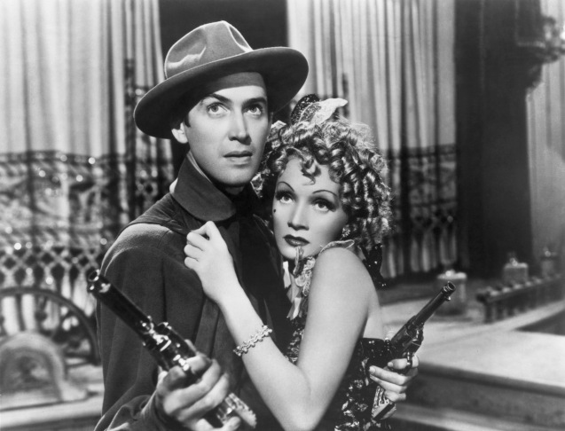 Marlene Dietrich and James Stewart in Destry Rides Again (1939)