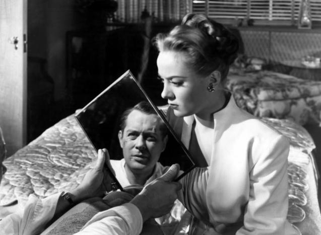 Robert Montgomery (you only ever see his face in mirrors) and Audrey Totter in Lady in the Lake (1947)