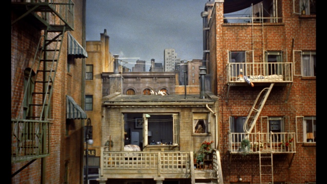 The view from James Stewart's room in Rear Window (1954)