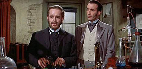 Paul Massie (as Jekyll) and Christopher Lee in The Two Faces of Dr Jekyll (1960)