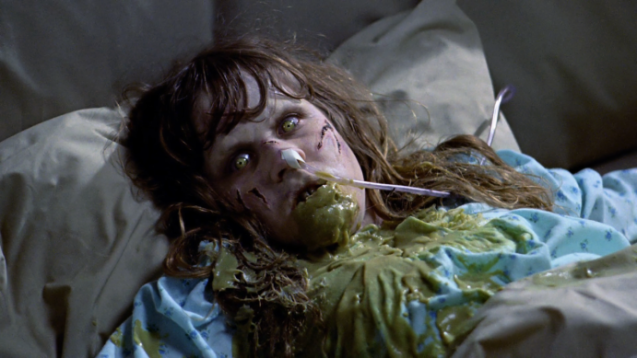 Linda Blair pukes pea-soup in The Exorcist (1973)