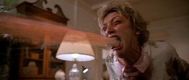 Veronica Cartwright puking cherry stones in The Witches of Eastwick (1987)